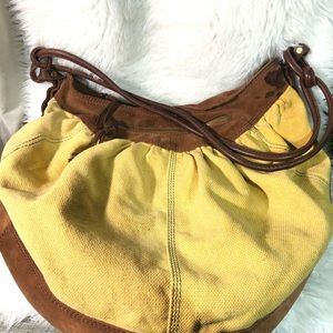Lucky Brand large soft gold canvas and suede purse